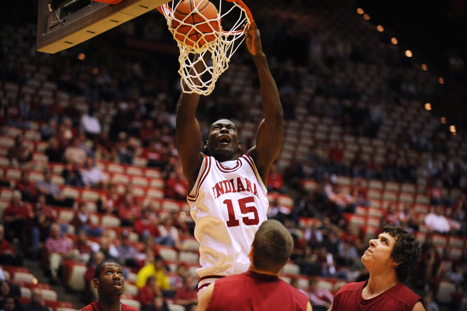 Indiana center Bawa Muniru throws down a slam dunk during an exhibition game against St. Joseph's on Monday, Nov. 9, 2009, at Assembly Hall.