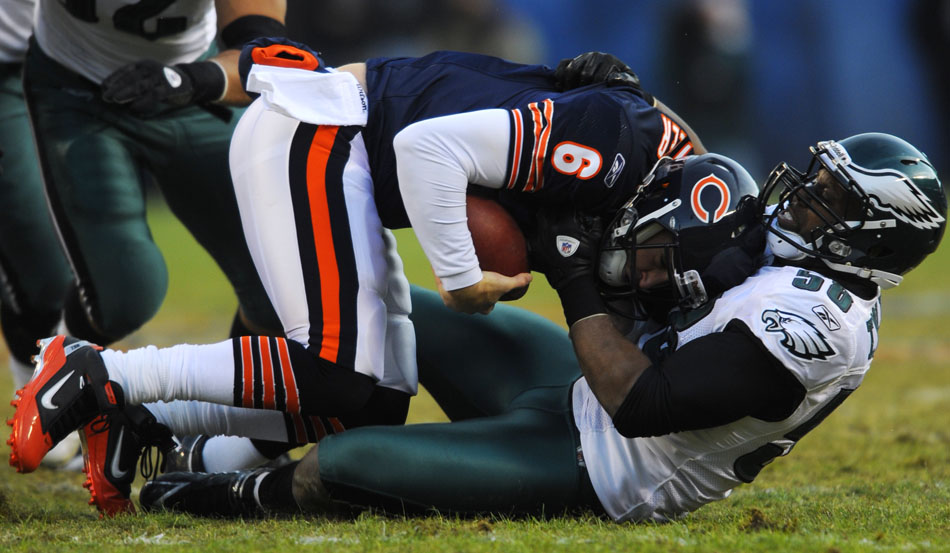 Philadelphia Eagles defensive end Trent Cole (58) drags down Chicago Bears quarterback Jay Cutler (6) for a sack during the first half of a game on Sunday, Nov. 28, 2010, at Soldier Field in Chicago.