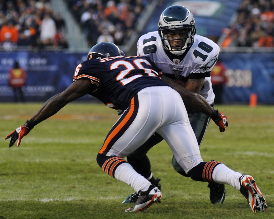 Chicago Bears cornerback Tim Jennings (26) tackles Philadelphia Eagles wide receiver DeSean Jackson (10) in the red zone during a game on Sunday, Nov. 28, 2010, at Soldier Field in Chicago.