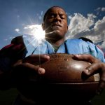 Cheyenne East noise tackle Christian Robinson poses for a portrait on Wednesday, Aug. 24, 2011, at the school. (James Brosher/Wyoming Tribune Eagle)