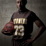 Wyoming women's basketball guard Chelan Landry poses for a portrait during the Wyoming basketball media day on Wednesday, Oct. 19, 2011, in Laramie, Wyo. (James Brosher/Wyoming Tribune Eagle)