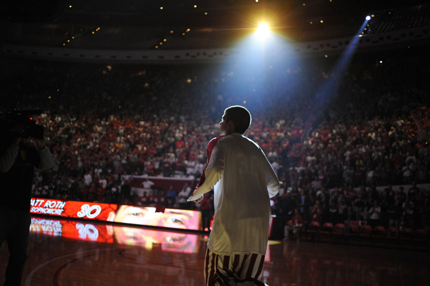 Indiana guard Matt Roth runs onto the court after being introduced during Hoosier Hysteria on Friday, Oct. 16, 2009, at Assembly Hall in Bloomington, Ind.