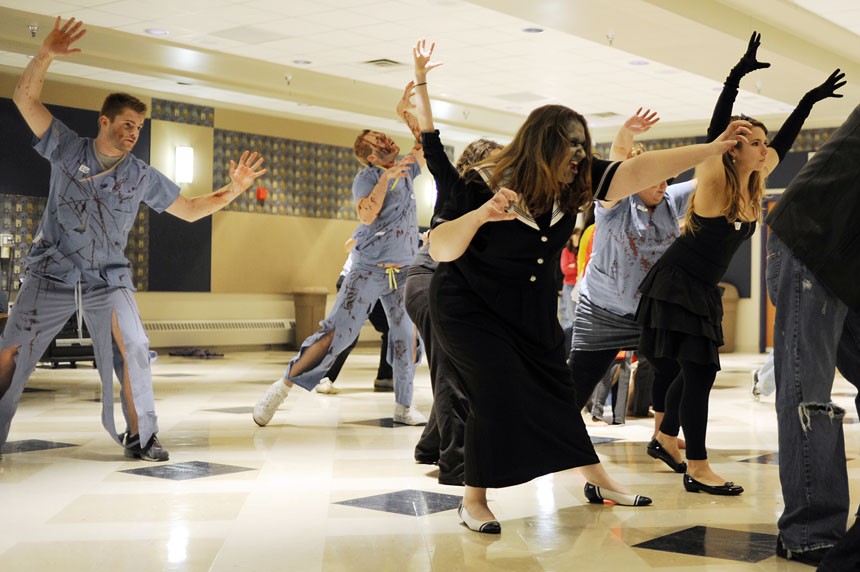 """Zombies dance to Michael Jackson's """"Thriller"""" on Saturday, Oct. 24, 2009, at Willkie Auditorium. The simultaneous dance happened world-wide at 8:30 p.m. with the goal of having one million people dance to """"Thriller."""" At Willkie, 42 dancers participated."""