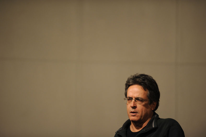 Angelo Pizzo, a screenwriter and producer, speaks to students on Monday, Nov. 30, 2009, in the IMU's Frangipani Room.