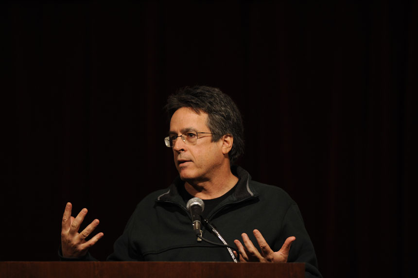 "Angelo Pizzo, a screenwriter and producer, speaks to students on Monday, Nov. 30, 2009, in the IMU's Frangipani Room. Pizzo, an IU alumnus who is best known for writing ""Hoosiers"" and ""Rudy,"" said he is currently working on a movie about the 1911 Indianapolis 500."