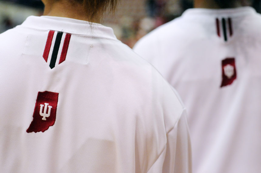 An IU logo is seen on the back of an IU player's warm-up shirt before a game against Cincinnati on Wednesday, Nov. 18, 2009, at Assembly Hall.