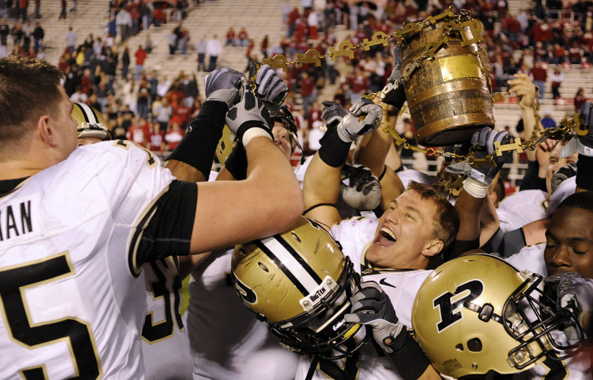 Purdue players celebrate after a 38-21 victory over IU in the Old Oaken Bucket game on Saturday, Nov. 21, 2009, at Memorial Stadium. The victory is Purdue's second straight in the rivalry.