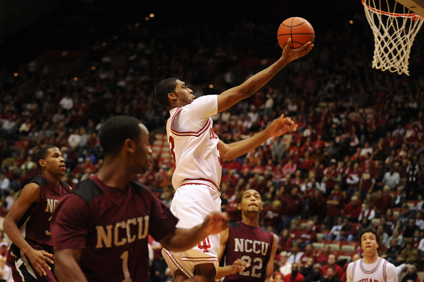 IU guard Maurice Creek goes in for a layup immediately after the opening tip during a game against North Carolina Central on Saturday, Dec. 19, 2009, at Assembly Hall.