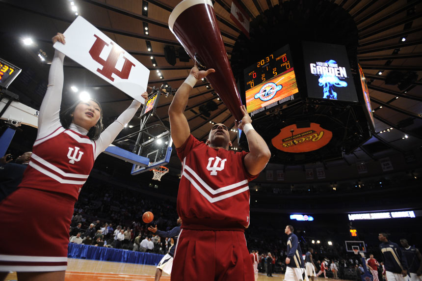 IU cheerleaders pump up the crowd before a game against Pittsburgh during the Jimmy V Classic on Tuesday, Dec. 8, 2009, at Madison Square Garden in New York.