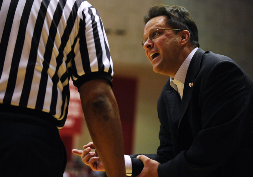 IU coach Tom Crean pleads with an official during a game on Tuesday, Dec. 22, 2009, at Assembly Hall. IU lost 72-67.