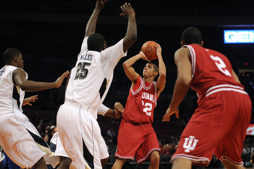 IU guard Verdell Jones III puts up a shot from about the free-throw line during the Jimmy V Classic on Tuesday, Dec. 8, 2009, at Madison Square Garden in New York.