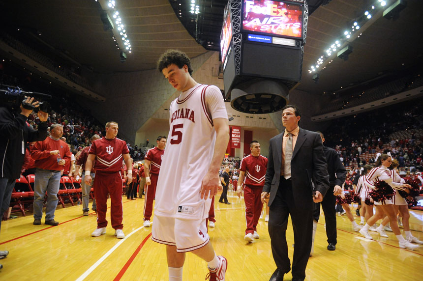 IU guard Jeremiah Rivers walks off the floor after the team's 72-67 loss to Loyola on Saturday, Dec. 22, 2009, at Assembly Hall. IU trailed by 18 at the half, but took the lead late in the second only to come up short.