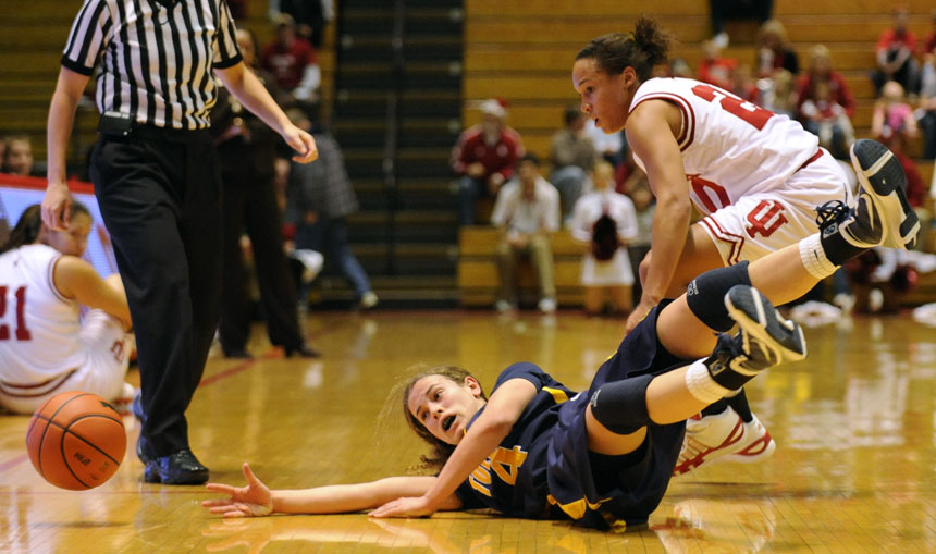 Toledo guard Naama Shafir (4) watches as a ball bounces out of bounds in front of IU guard Whitney Lindsay during a game Tuesday, Dec. 22, 2009, at Assembly Hall. IU won 73-63.