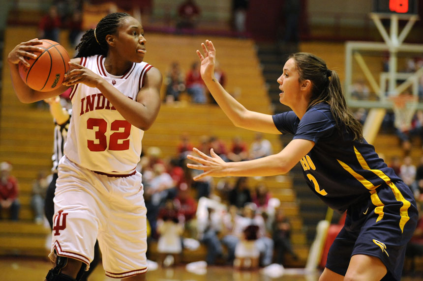 IU guard Jori Davis surveys the Toledo defense during a game Tuesday, Dec. 22, 2009, at Assembly  Hall. IU won 73-63.