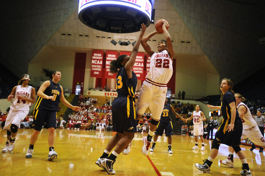 IU forward Sasha Chaplin (22) puts up a fade away shot during a game Tuesday, Dec. 22, 2009, at Assembly Hall. IU won 73-63.