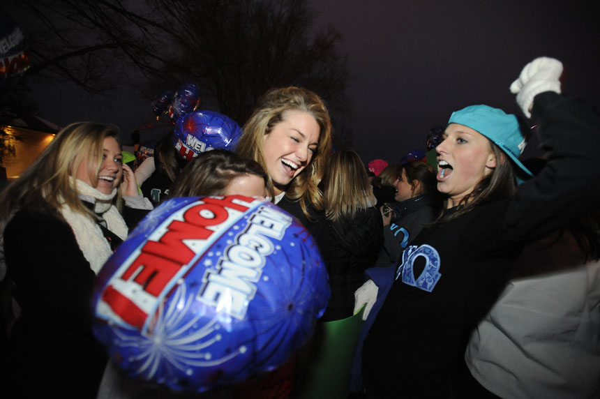 Alpha Chi Omega members welcome new members during Bid Day on Monday, Jan. 11, 2010, outside the chapter's Jordan Avenue house. Members faced frigid, sub-freezing temperatures as they greeted new members off of buses.