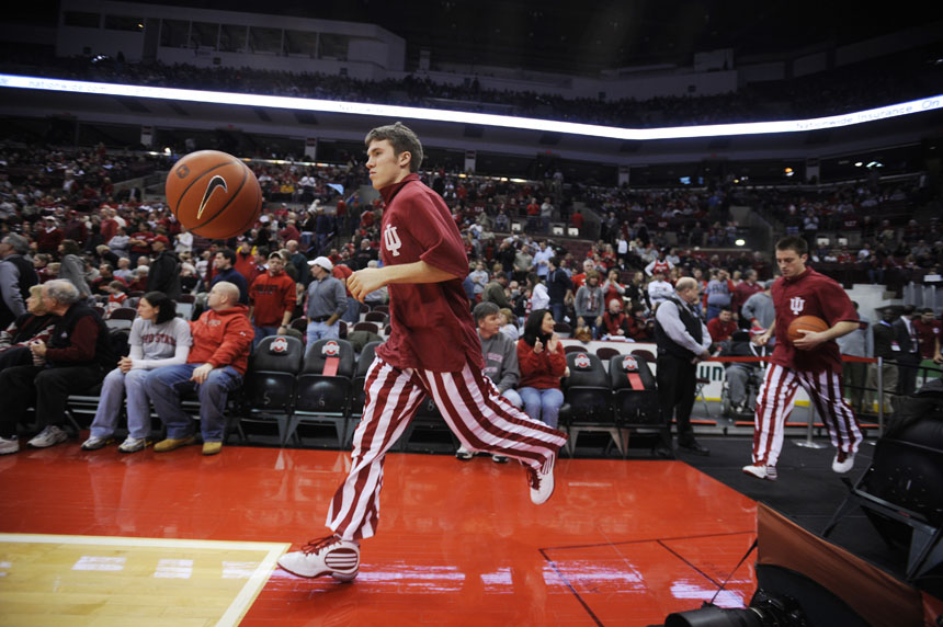 IU guard Jordan Hulls leads the team onto the court before a game against Ohio State on Wednesday, Jan. 6, 2010, in Columbus, Ohio.
