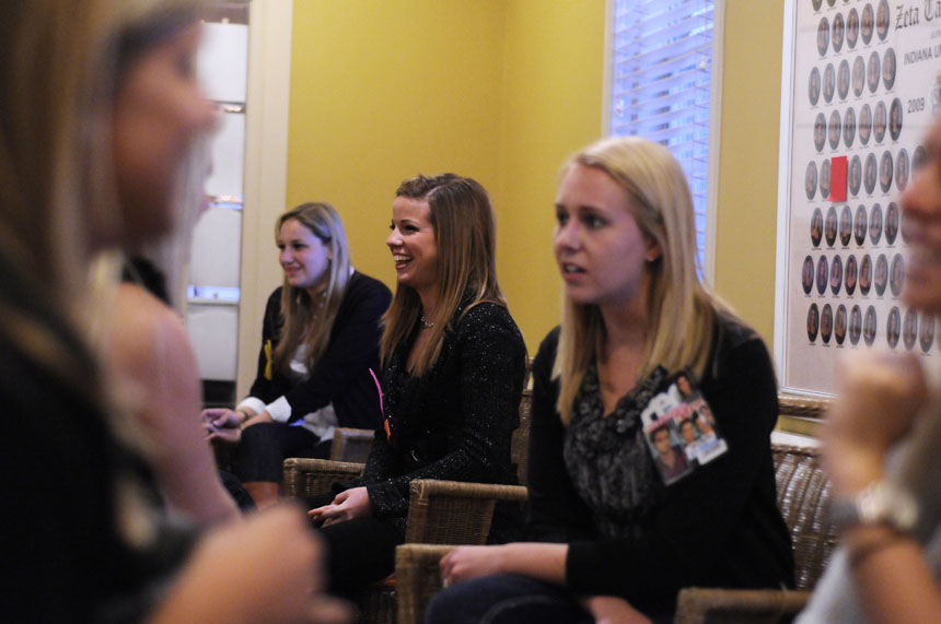 Potential new members speak with Zeta Tau Alpha women during 14 Party on Thursday, Jan. 7, 2010, at the Zeta Tau Alpha house. The two-day event allows potential new members to meet women from different chapters.