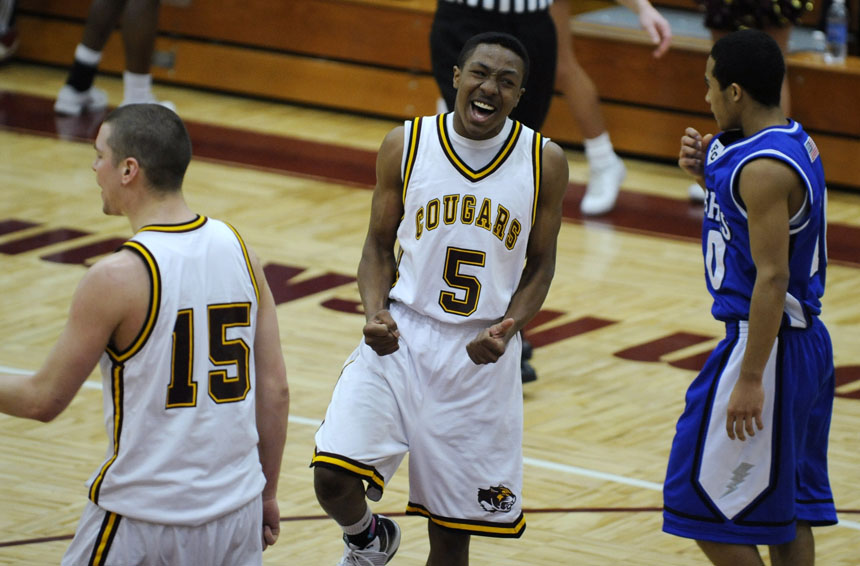 North's Damon Brown reacts after a play in a game against Franklin Central on Friday, Jan. 29, 2010, at Bloomington North.