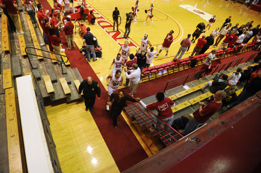 IU coach Felisha Legette-Jack leads the team off the court after a 50-48 win over Illinois on Thursday, Jan. 7, 2010, at Assembly Hall. IU battled back from a halftime deficit to win with a Jamie Braun layup with 2.7 seconds left in the game.