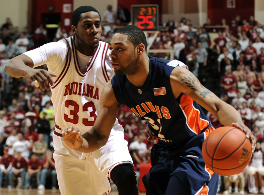 Illinois guard Demetri McCamey drives towards the basket as IU guard Devan Dumes defends during a game on Saturday, Jan. 9, 2010, at Assembly Hall. IU lost 66-60.