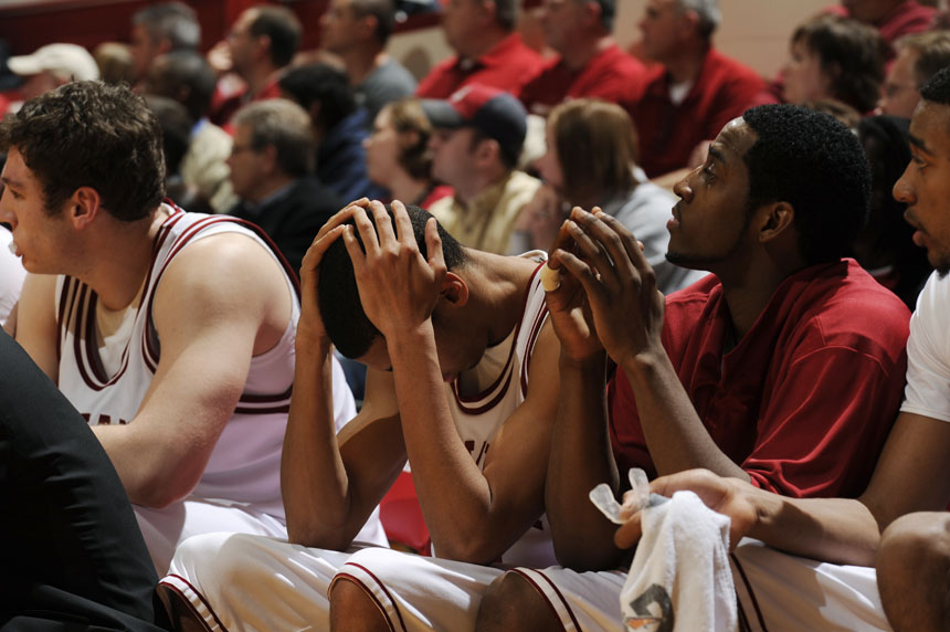 Indiana guard Verdell Jones III puts his head in his hands during a game against Ohio State on Wednesday, Feb. 10, 2010, at Assembly Hall in Bloomington, Ind. (James Brosher / For The Star)