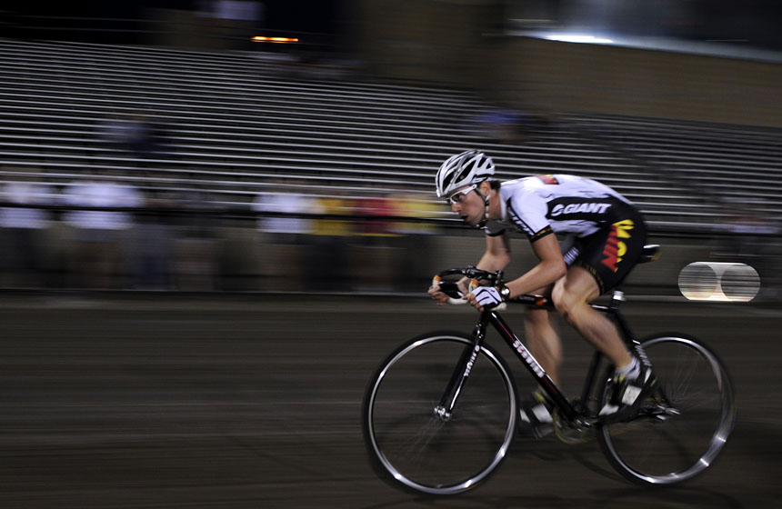 Cutters rider Eric Young speeds down the front stretch with his eyes looking into turn one during his Little 500 Individual Time Trial on Wednesday, March 31, 2010, at Bill Armstrong Stadium. Young posted the overall best time of the evening at 2:22.
