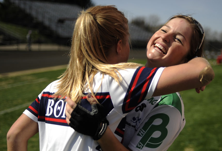 Kappa Kappa Gamma rider Mary Rush, right, celebrates with a teammate after the team posted a time of 2:44.52 during Little 500 Qualifications on Saturday, March 27, 2010, at Bill Armstrong Stadium.