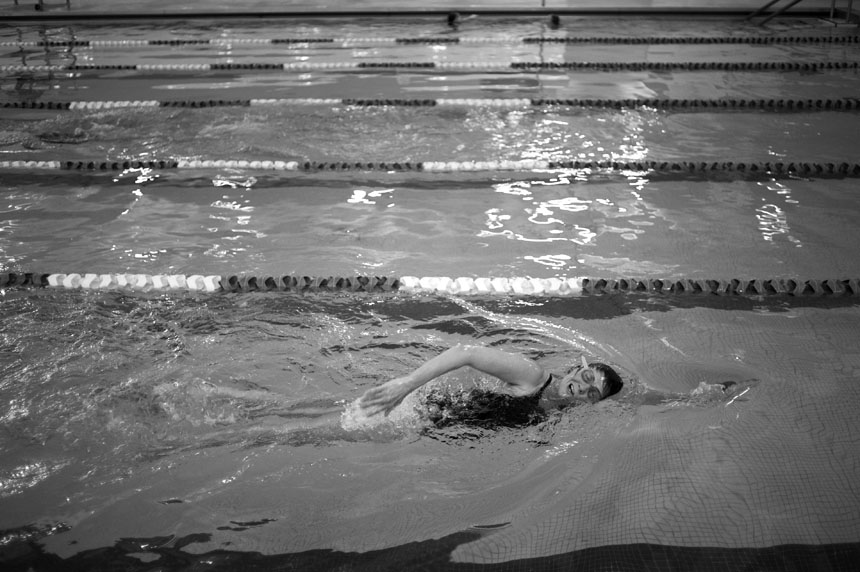Sharlee Davis makes a lap in the pool on Saturday, Feb. 27, 2010, at the Monroe County YMCA. Davis swims in the last lane of the pool because she says the light is brighter there, allowing her to see the black line on the bottom of the lane somedays.