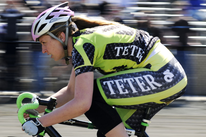 Teter rider Caitlin Van Kooten speeds down the front stretch during Little 500 Qualificiations on Saturday, March 27, 2010, at Bill Armstrong Stadium. Van Kooten, a junior, played a pivotal role in Teter's domination of the spring series events for the Women's Little 500.
