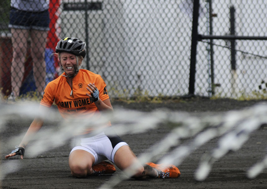 Army rider Lauren Sewell winces in paid after being involved in an accident in turn three during the Women's Little 500 on Friday, April 23, 2010, at Bill Armstrong Stadium. Sewell  was able to continue on her bike, but her team fell off of the lead lap.