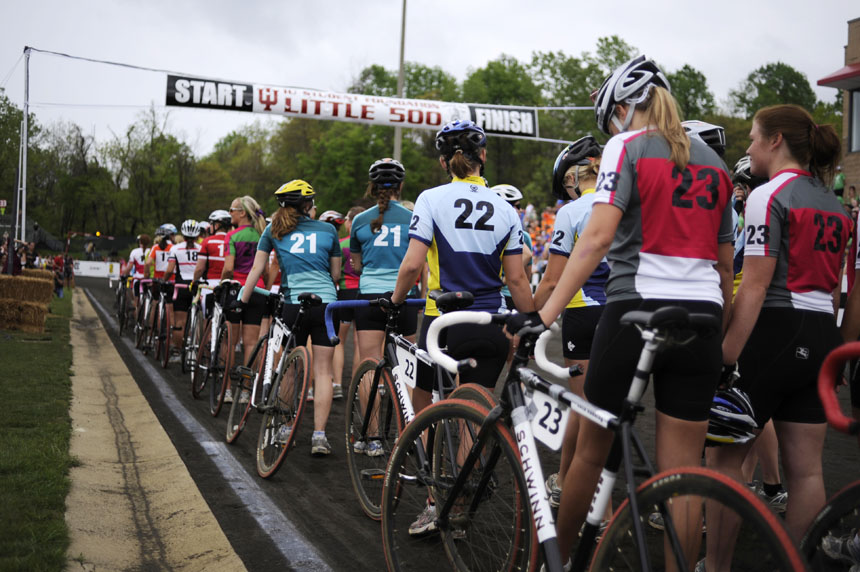Riders prepare to be introduced during the parade lap before the Women's Little 500 on Friday, April 23, 2010, at Bill Armstrong Stadium.