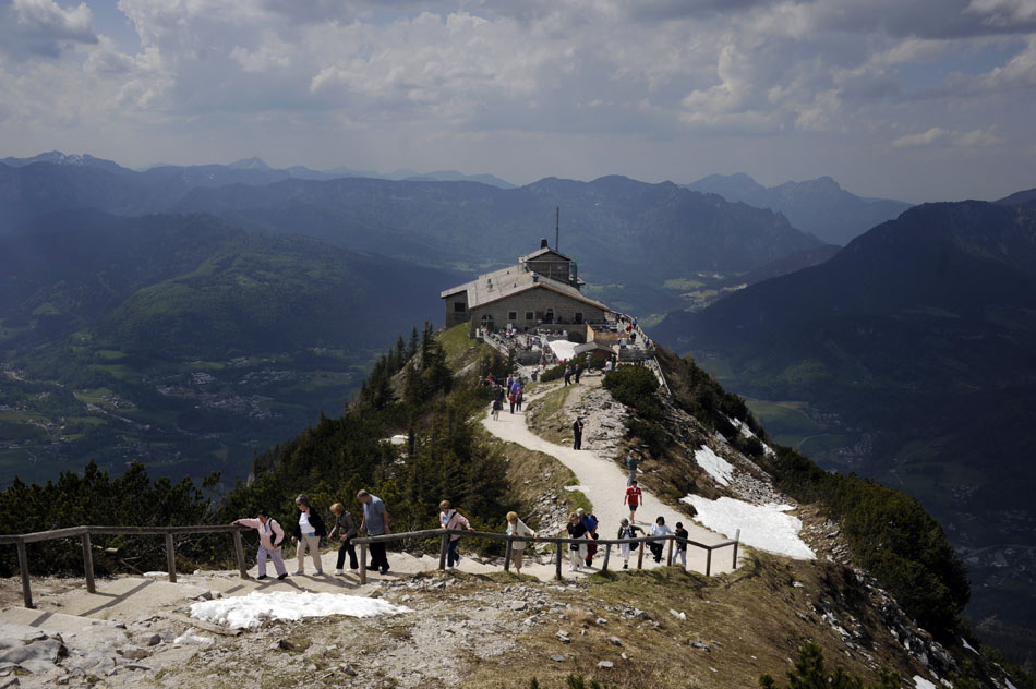 Visitors hike up a walking path to a viewing platform on Tuesday, May 25, 2010, at the Kehlsteinhaus near Berchtesgaden, Germany. The house, known in English as the Eagle's Nest, was given to Adolf Hitler by the Nazi Party as a present for his 50th birthday.