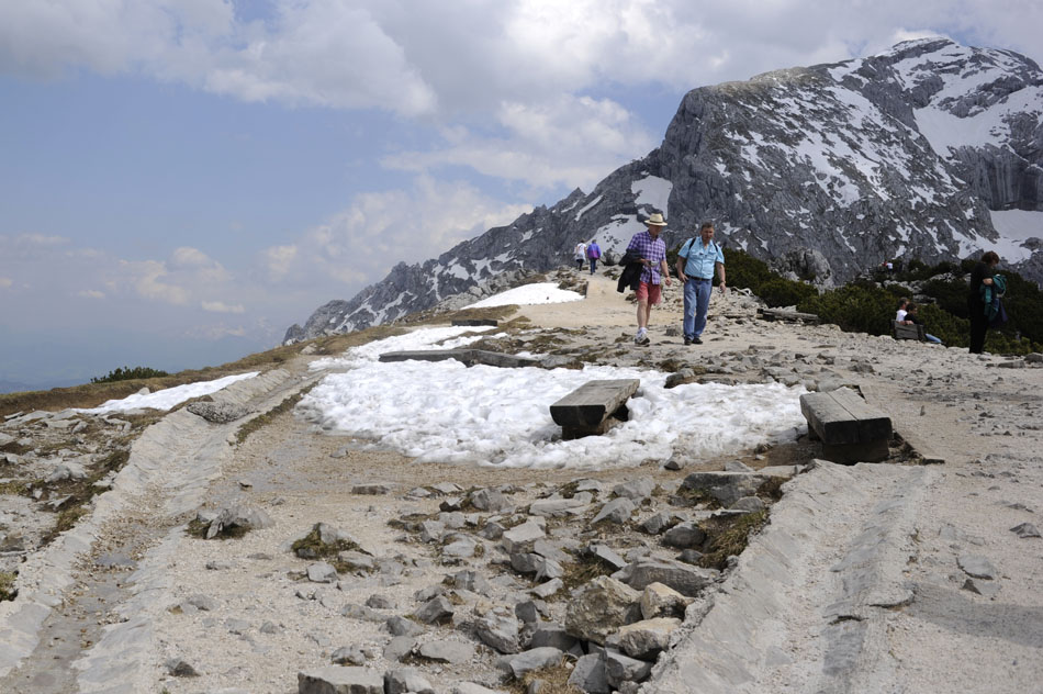 Tourists navigate their way down a walking path on Tuesday, May 25, 2010, at the Kehlsteinhaus (Eagle's Nest) near Berchtesgaden, Germany. The site includes a walking path, allowing visitors to hike further South of the house to benches overlooking the nearby Koenigsee.