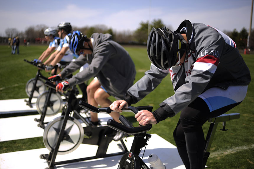 Emanon rider Derek Bailey, right, warms up during Little 500 Qualifications on Saturday, March 27, 2010, at Bill Armstrong Stadium.