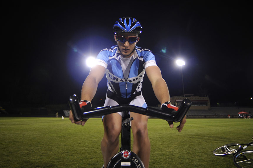 Emanon rider Sean Vallely warms up on a stationary bicycle before his Little 500 Individual Time Trial on Wednesday, March 31, 2010, at Bill Armstrong Stadium.
