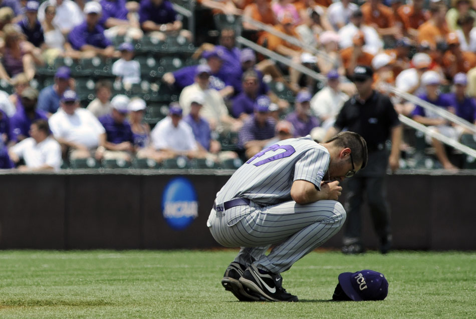 TCU pitcher Matt Purke takes a moment to himself before taking the mound for the first inning of a NCAA Super Regional against Texas at Disch-Falk Field on Friday, June 11, 2010.