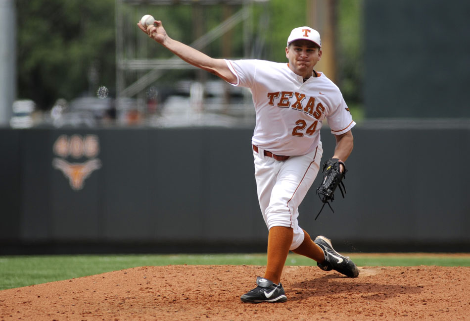 Texas' Cole Green throws to a TCU batter during a NCAA Super Regional at Disch-Falk Field on Friday, June 11, 2010. TCU won 3-1.