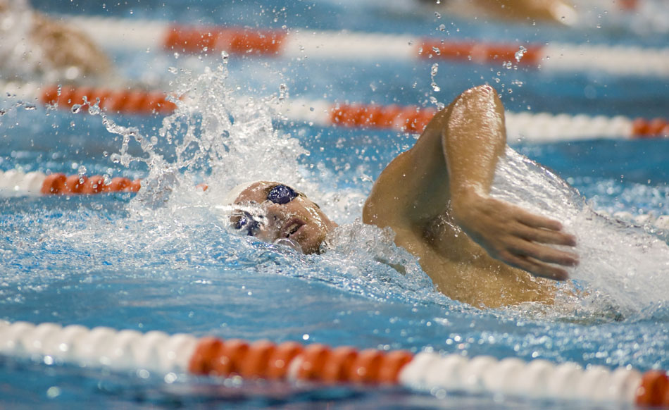 U.S. swimmer Aaron Peirsol, a five-time Olympic gold medalist, practices at the University of Texas with the men's swim team on Thursday, July 29, 2010.