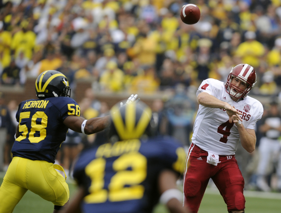 IU quarterback Ben Chappell makes a throw during a football game against Michigan on Saturday, Sept. 26, 2009, in Ann Arbor, Mich. Chappell was 21 of 38 with one interception. IU lost 36-33.