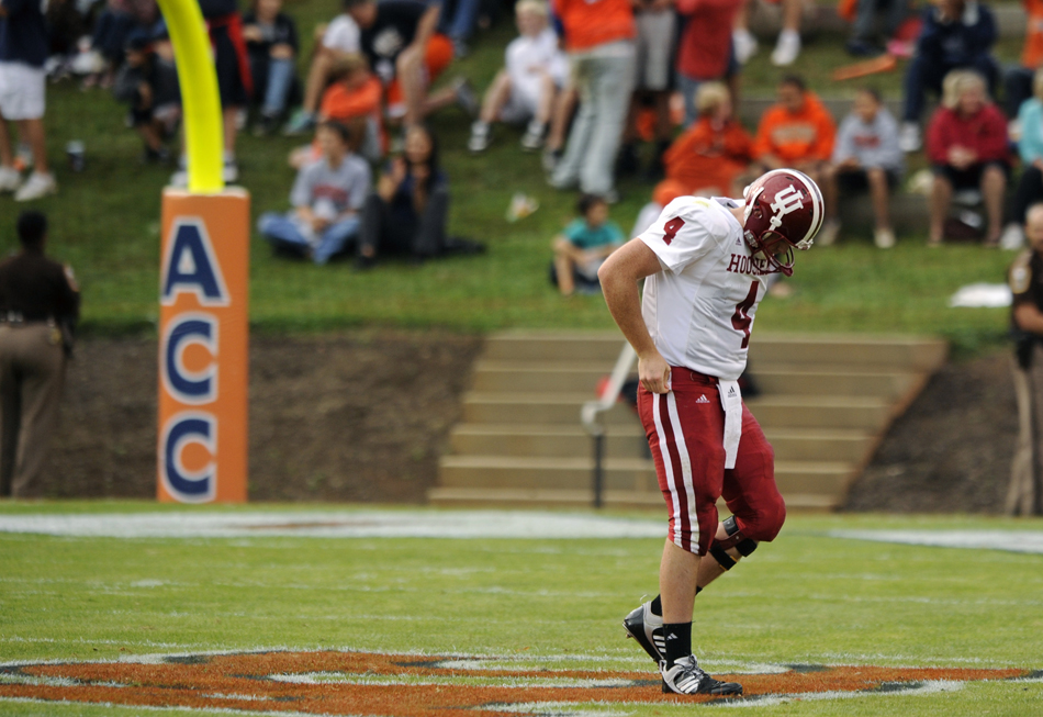 IU quarterback Ben Chappell walks off the field after failing to pick up a first down during a football game against Virginia on Saturday, Oct. 10, 2009, at Scott Stadium in Charlottesville, Va. IU lost 47-7.