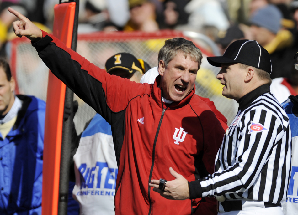 IU coach Bill Lynch argues with an official during a football game on Saturday, Oct. 31, 2009, in Iowa City, Iowa.