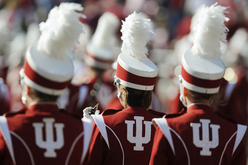 Members of the IU Marching Hundred stand on field before a football game against Wisconsin on Saturday, Nov. 7, 2009, at Memorial Stadium.