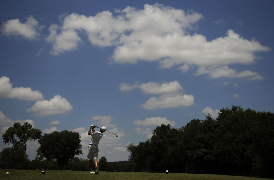 Brenden Redfern watches a tee shot during the final round of the Austin City Golf Championship at Jimmy Clay Golf Course on Sunday, Aug. 8, 2010. Redfern held the lead for most of the day in the final group, but lost by one stroke.