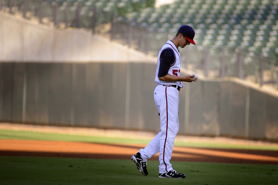 Round Rock Express pitcher Jordan Lyles, age 19, walks back to the mound during a game against Sacramento in his first minor league start at Dell Diamond on Tuesday, Aug. 10, 2010. Lyles is one of the Astro's top prospects.