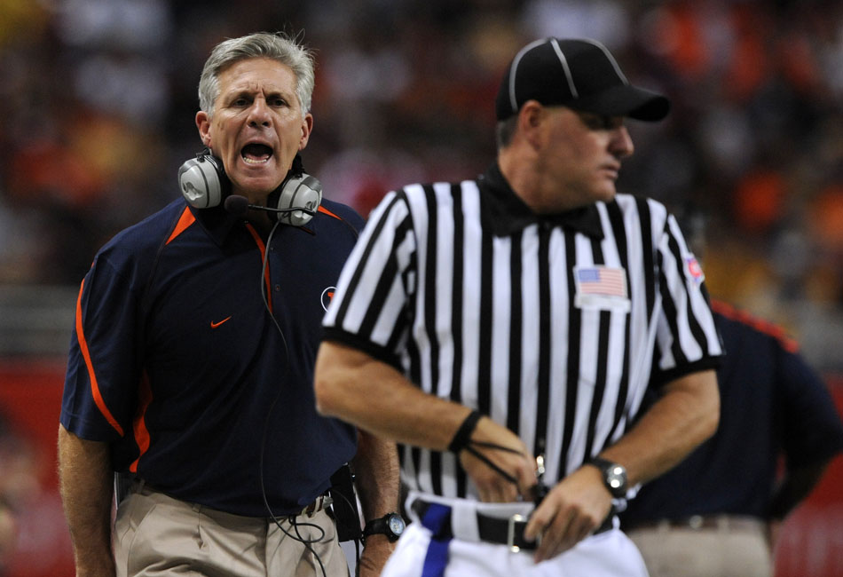 Illinois coach Ron Zook yells at an official after a false start was called on his team during a game against Missouri on Saturday, Sept. 4, 2010, at the Edward Jones Dome in St. Louis.