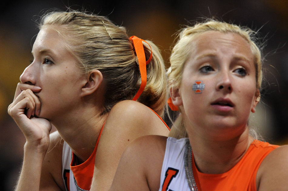 Members of the Illinois color guard watch in disbelief as it became apparent Illinois would lose to Missouri during a game on Saturday, Sept. 4, 2010, at the Edward Jones Dome in St. Louis.