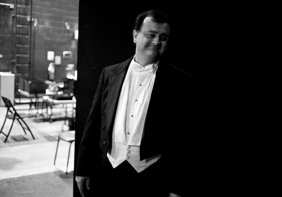 """George Stelluto, music director of the Peoria Symphony Orchestra, waits backstage before taking the stage to conduct his first concert with the orchestra on Saturday, Sept. 18, 2010, at the Peoria Civic Center. The orchestra opened with """"Meistersinger Overture"""" by Richard Wagner."""
