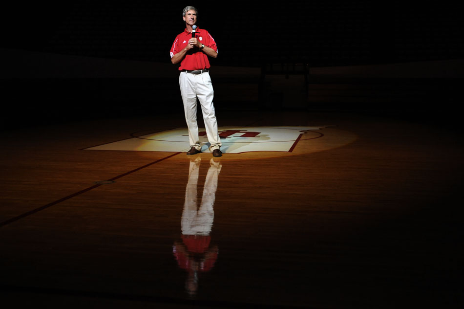 Indiana football coach Bill Lynch speaks to a group of freshmen during the Traditions and Spirit of IU pep rally on Friday, Aug. 28, 2009, at Assembly Hall.