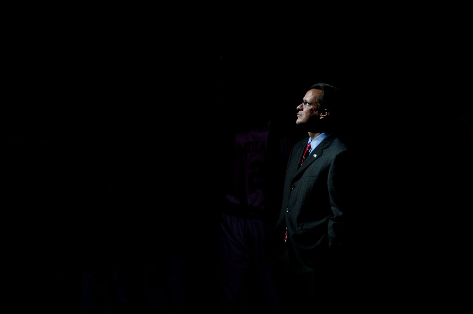 Indiana coach Tom Crean waits for player introductions to begin before a game on Tuesday, Nov. 16, 2010, at Assembly Hall.